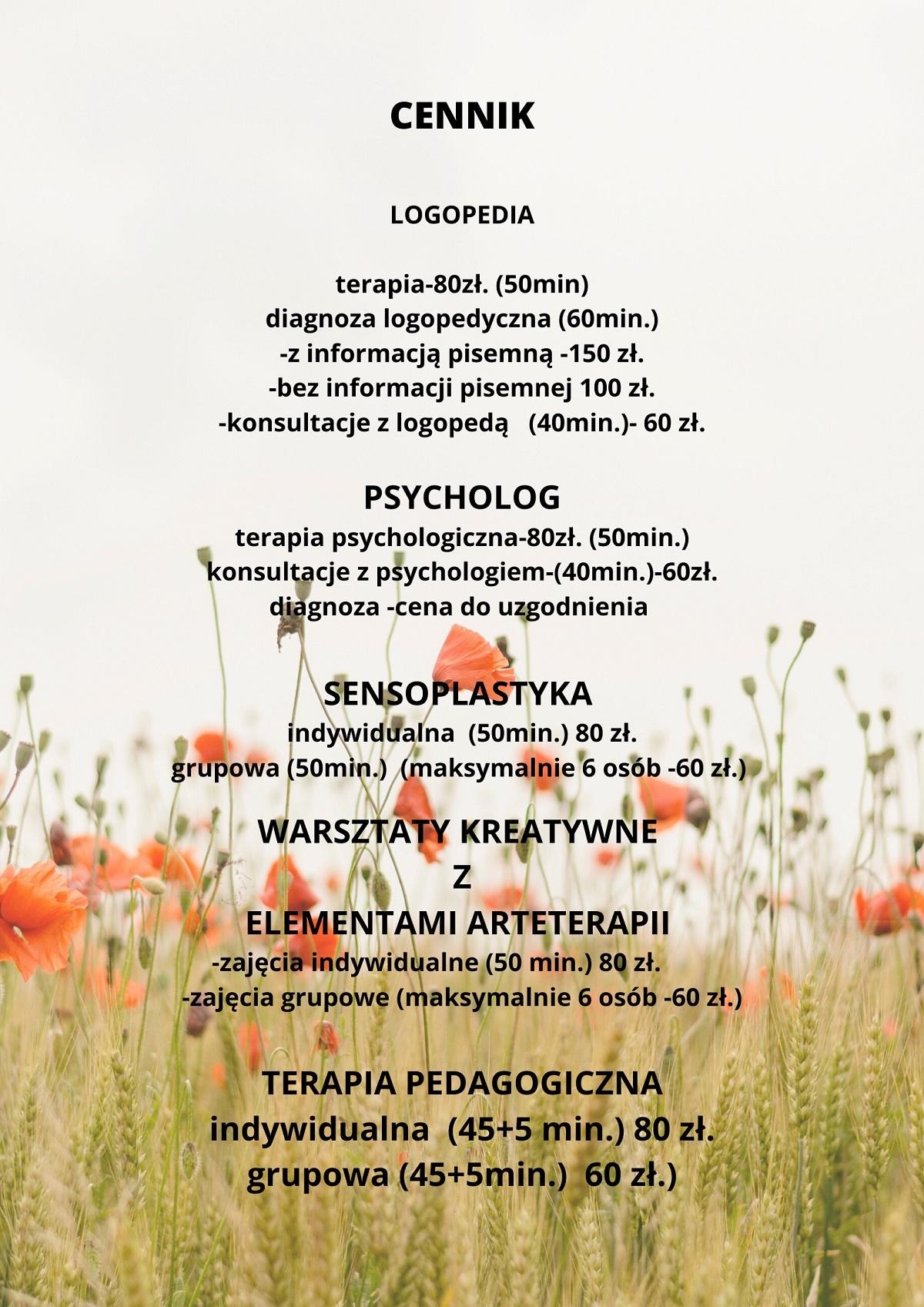 """Cennik Centrum Edukacyjno-Terapeutycznego """"Przecinek i Kropka"""""""
